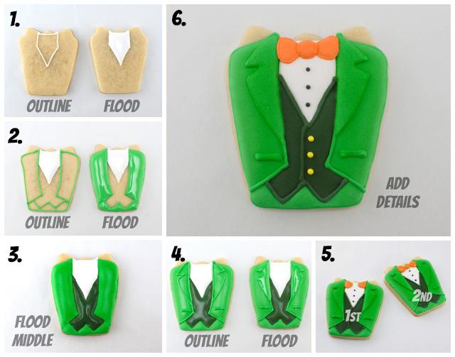 tuxedo irish shirt icing instructions