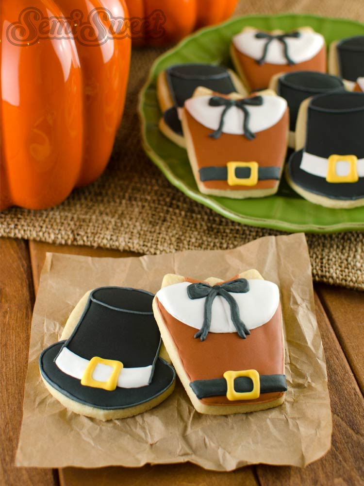 pilgrim shirt and hat cookies