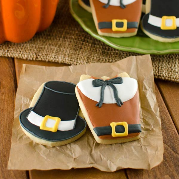 Thanksgiving Cookies - Pilgrim Shirts and Hats