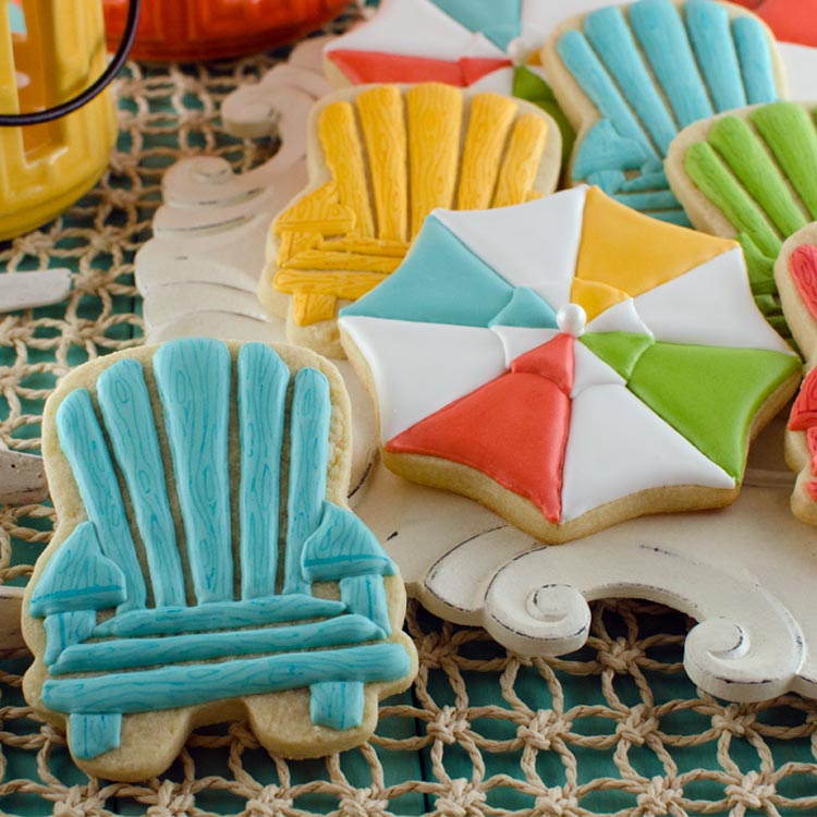 Summer Cookies: Beach Umbrellas and Chairs