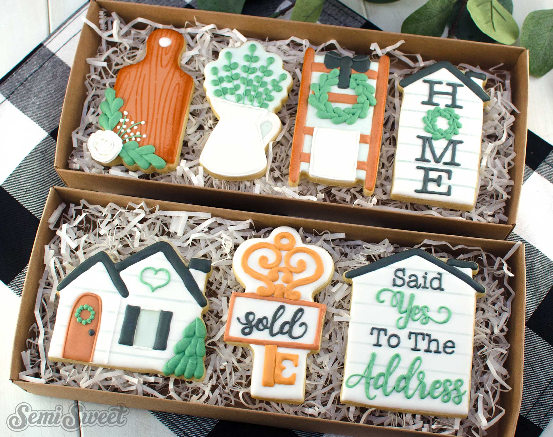farmhouse housewarming cookies in boxes