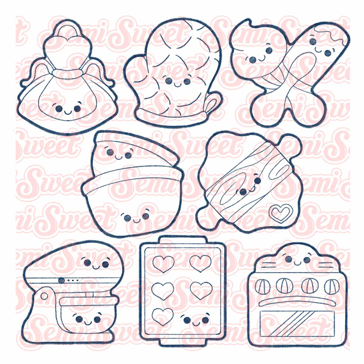 baking-themed cookie cutters apron