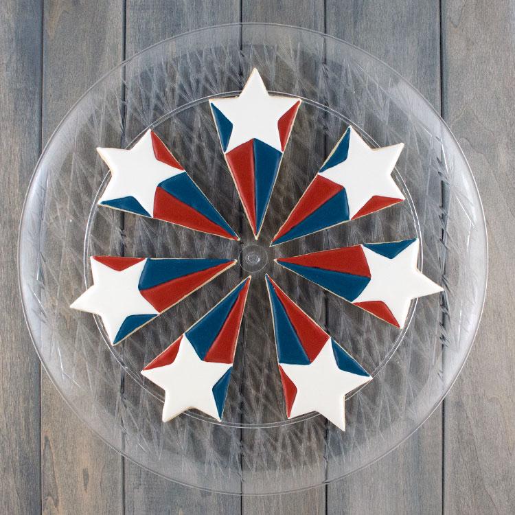 Patriotic Starburst cookie platter pieces