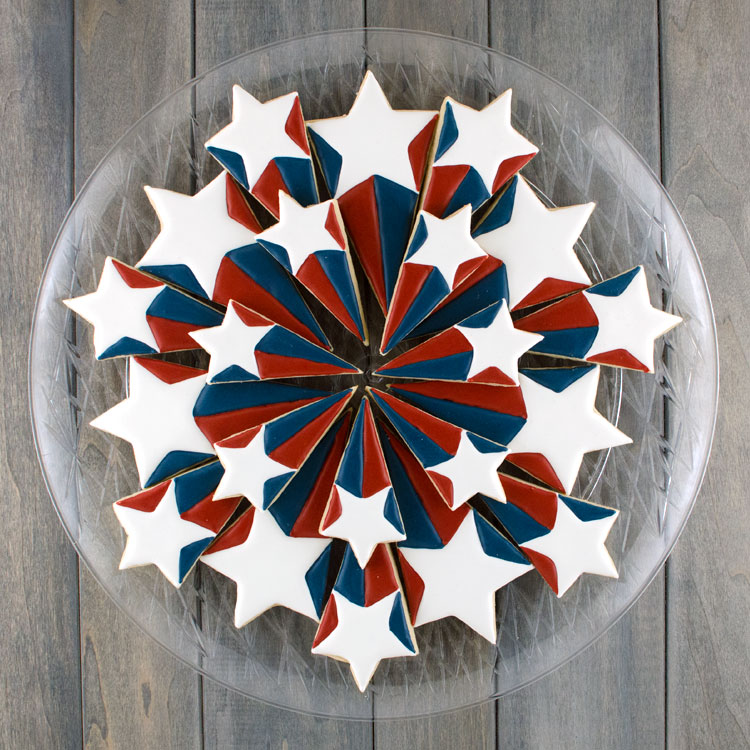 Patriotic starburst cookie platter