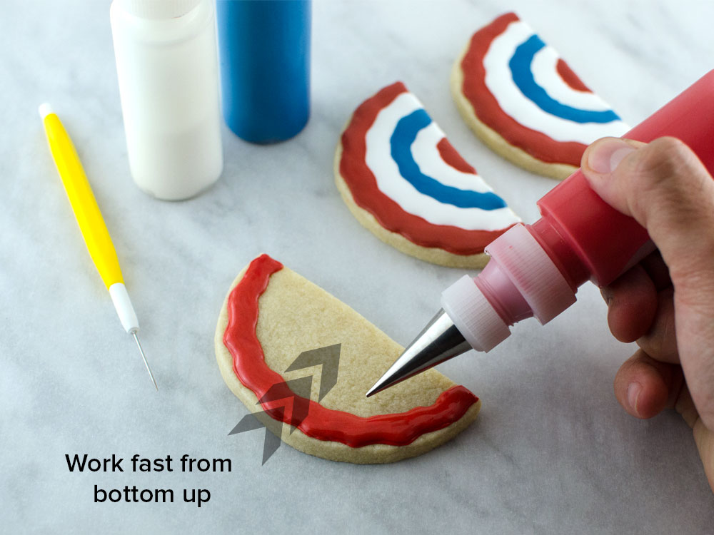 Patriotic bunting cookies step 1
