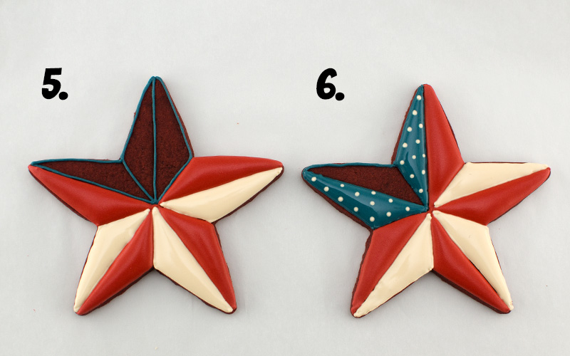 the third steps to icing patriotic star cookies