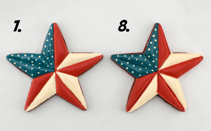 the fourth steps to icing patriotic star cookies