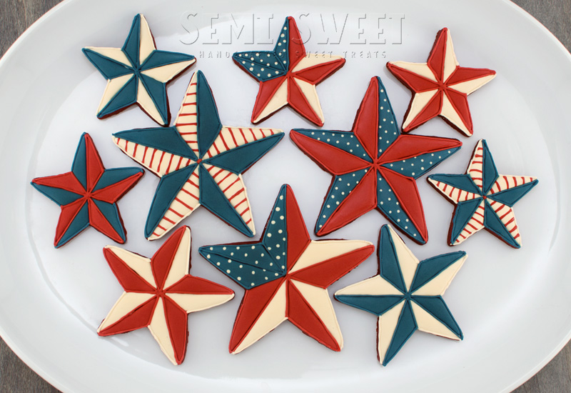 different variety of 4th of July star cookies