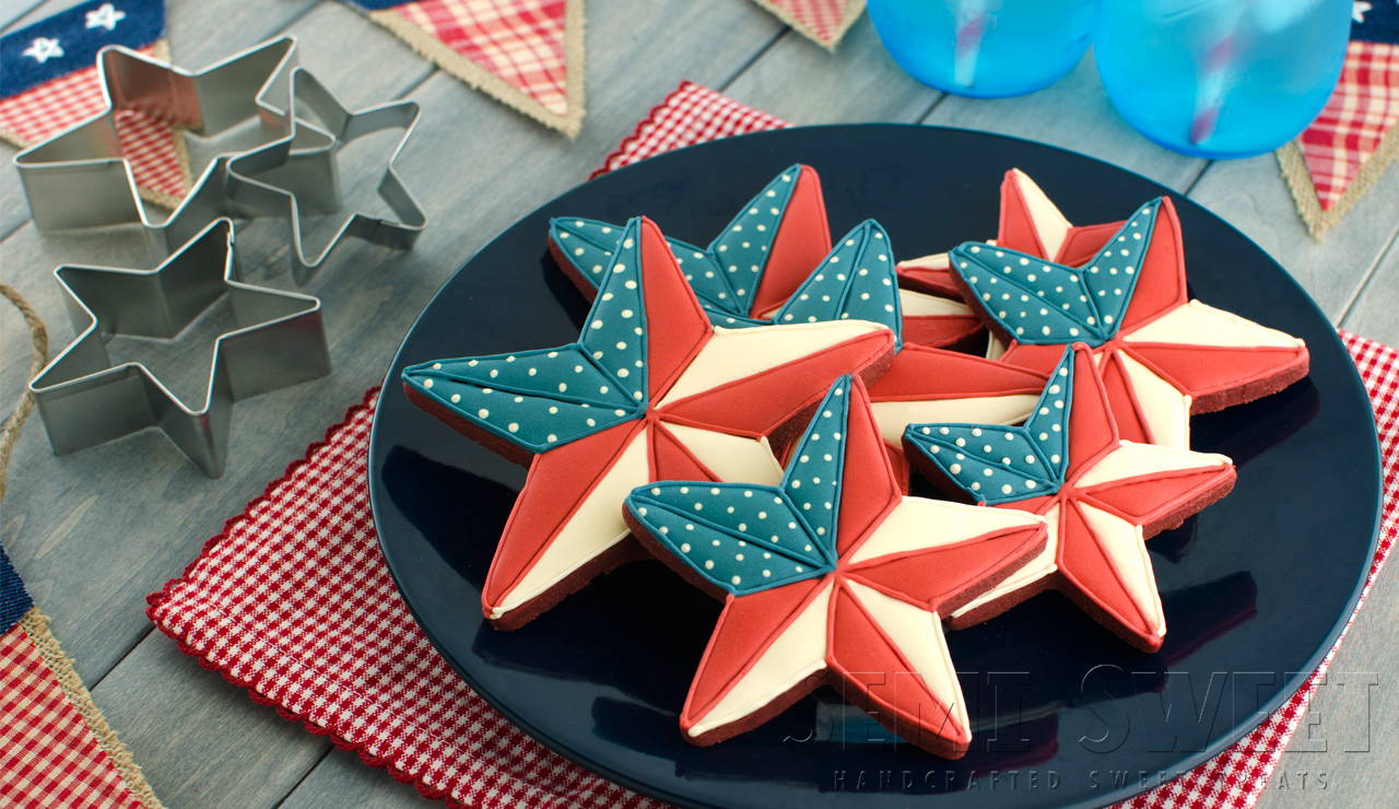 patriotic barn star cookies for 4th of July