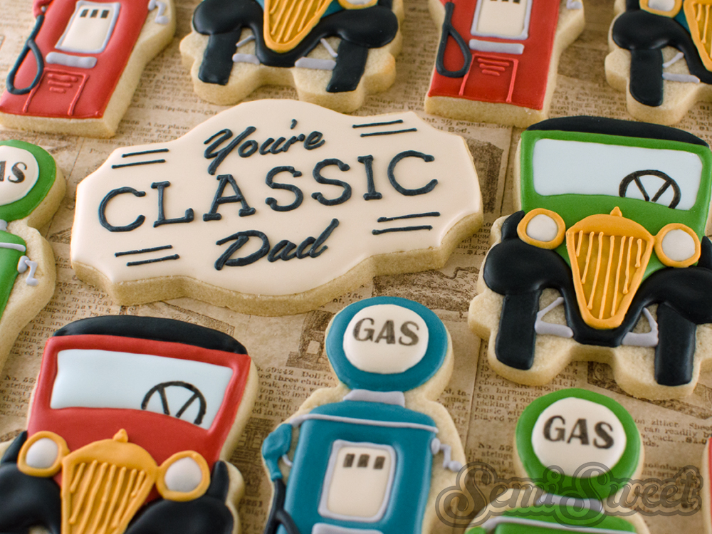 vintage car father's day cookies