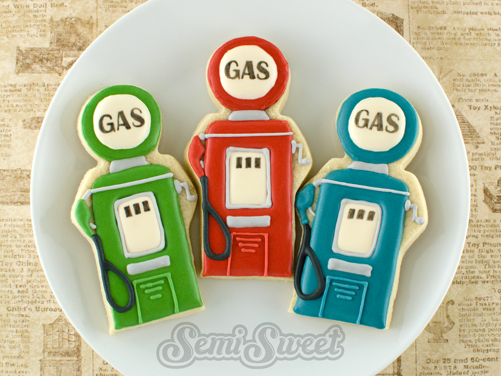 Vintage gas pumps father's day cookies