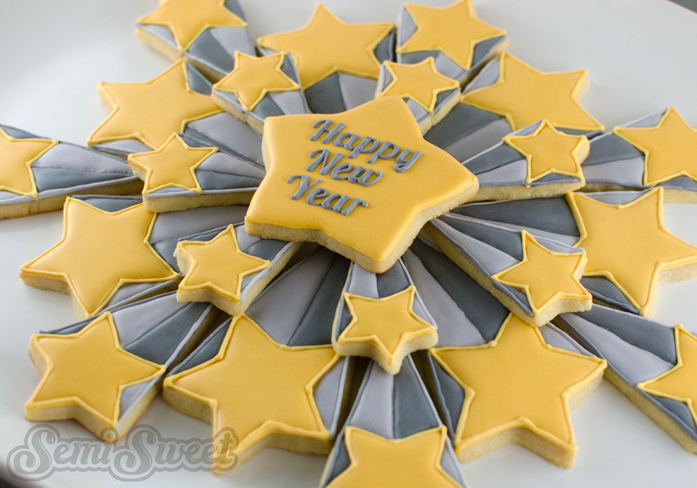 New Yea's starburst cookie platter by Semi Sweet Designs