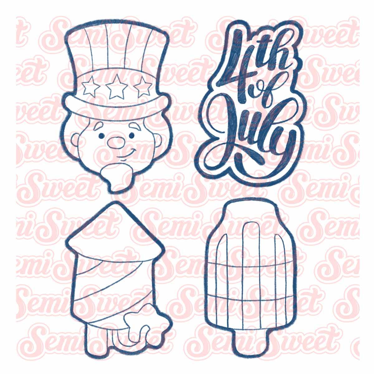 patriotic cookie set with Uncle Sam