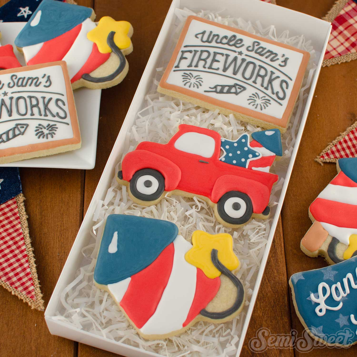 farmhouse 4th of july cookies in a box