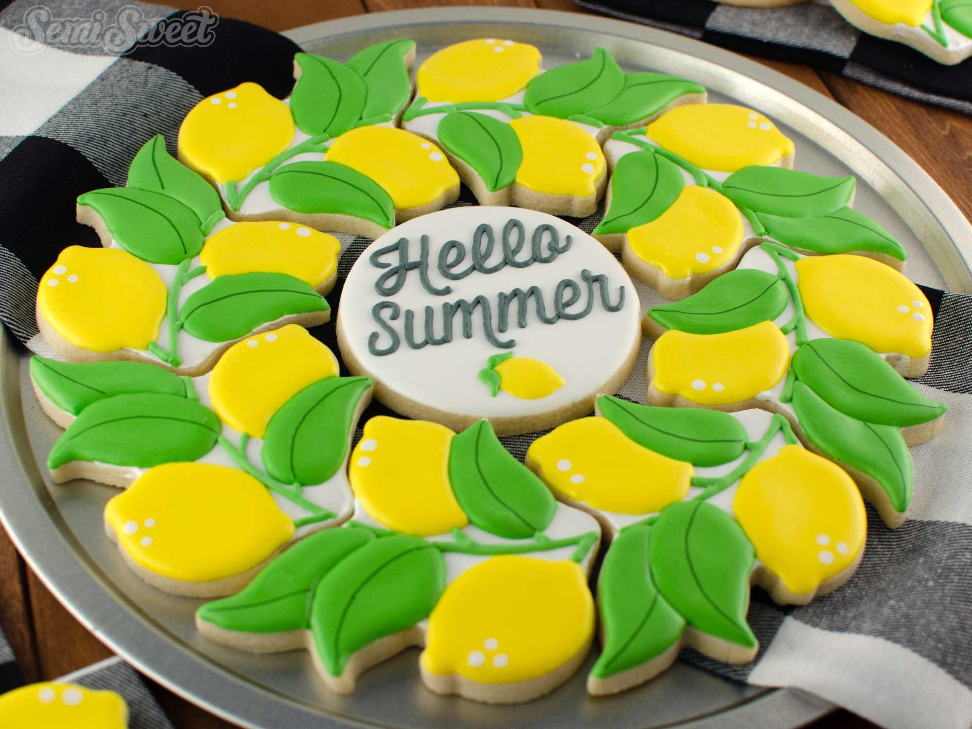 Lemon Wreath Cookie Platter | Semi Sweet Designs