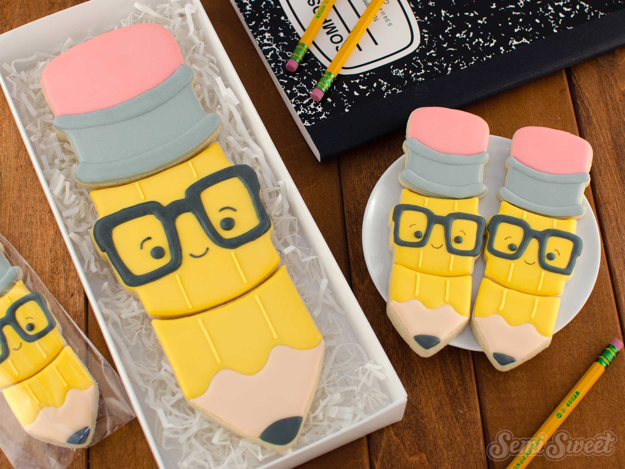 How to Make a Nerdy Pencil Cookie Set