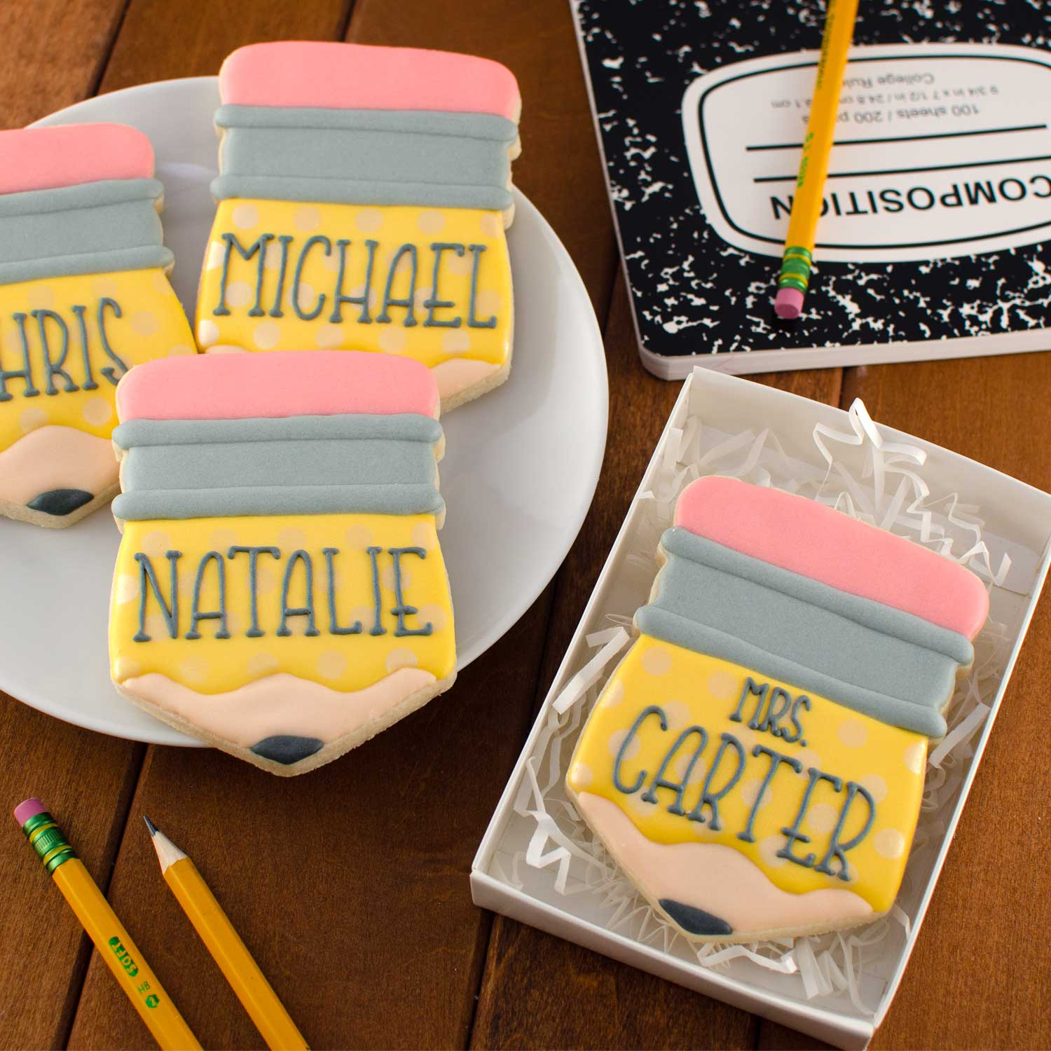 pencil plaque cookies | Semi Sweet Designs
