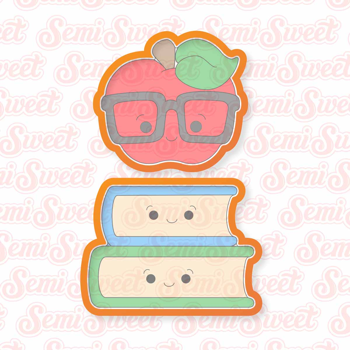 nerdy apple on books cookie cutters | Semi Sweet Designs