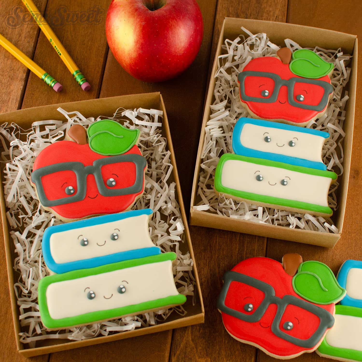 nerdy apple on books cookie set | Semi Sweet Designs