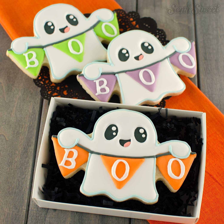 banner ghost cookies | Semi Sweet Designs