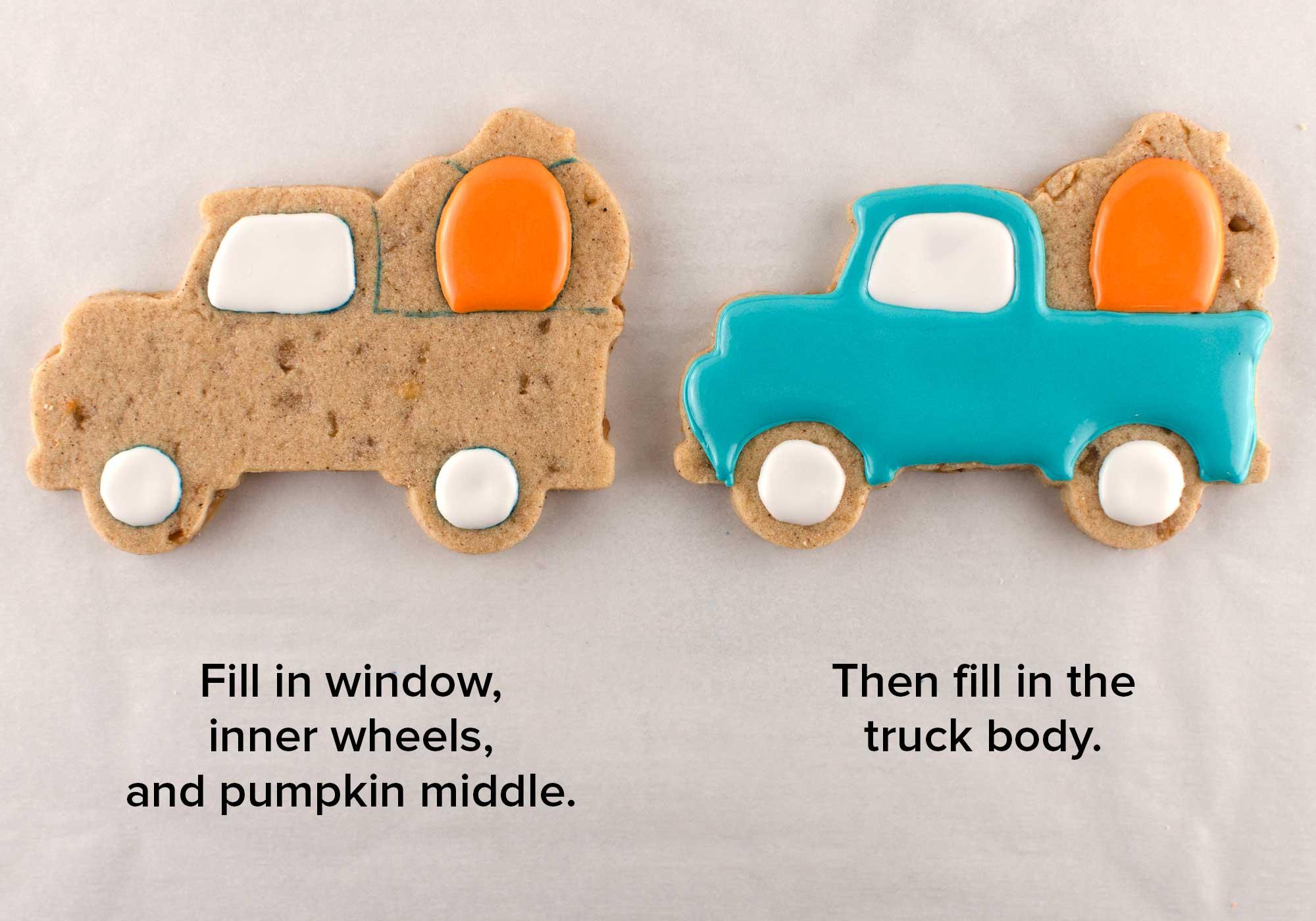 Fall pumpkin truck cookies step 1