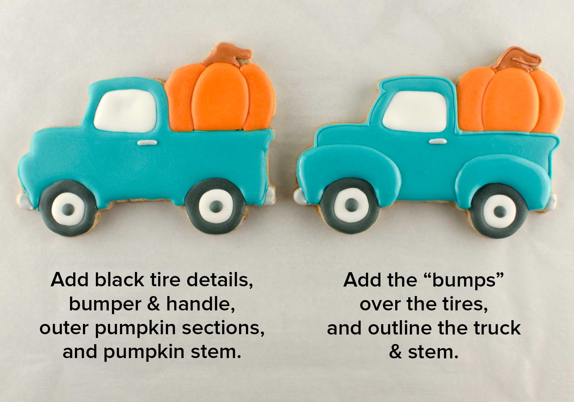 pumpkin truck cookies step 2