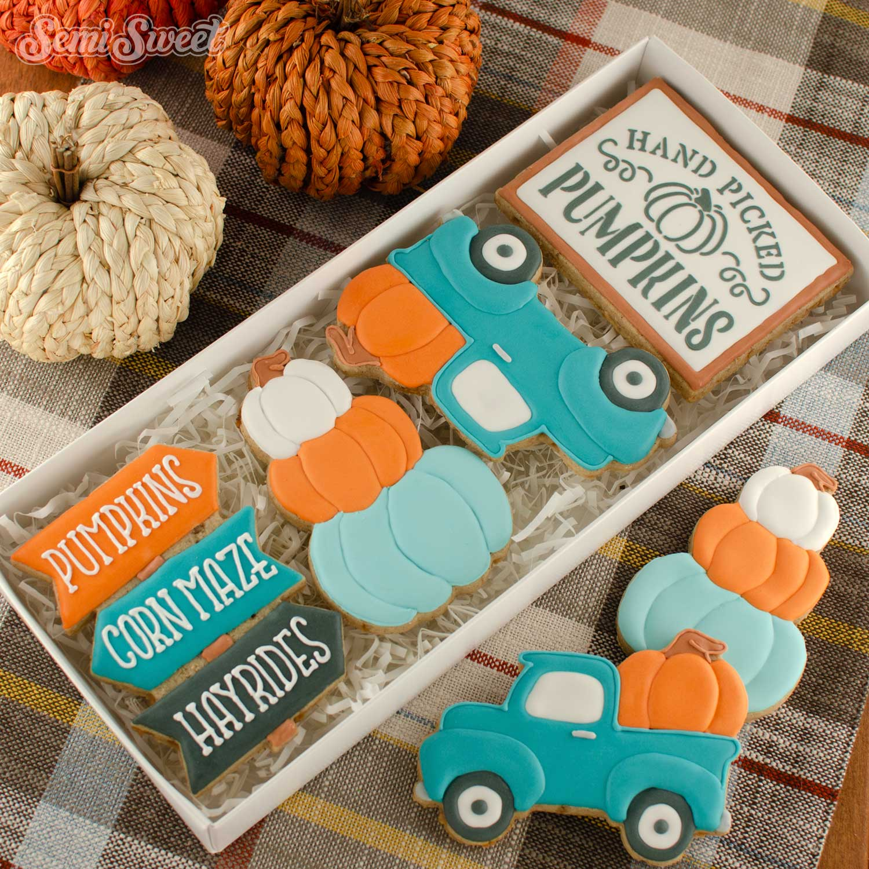 fall farmhouse truck cookie box set | Semi Sweet Designs