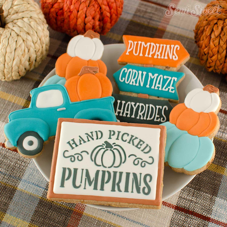 pumpkin farm sign cookie and stencil | Semi Sweet Designs