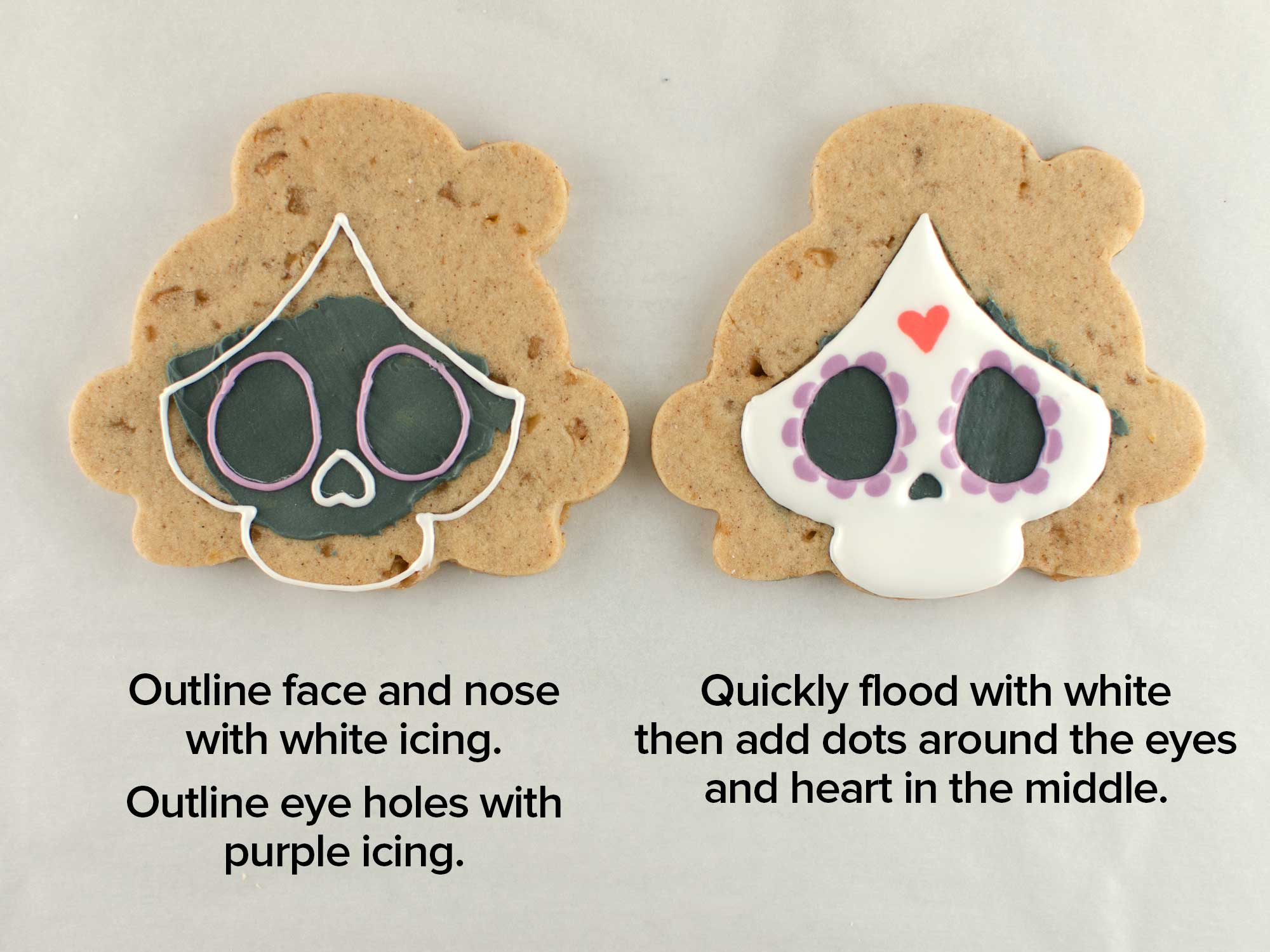 Day of the Dead skull cookies step 2
