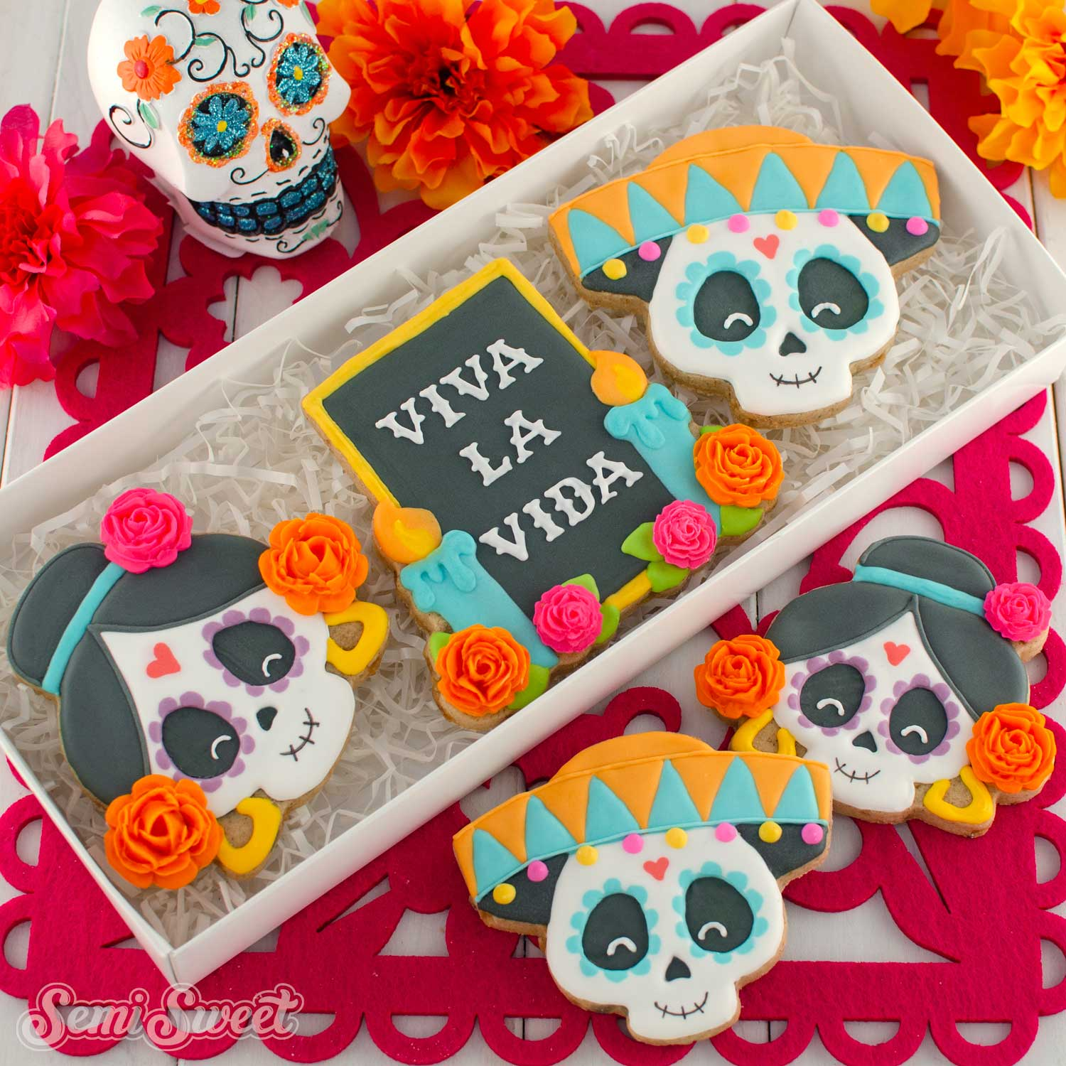 Dia de los Muertos Cookies in a box | Semi Sweet Designs