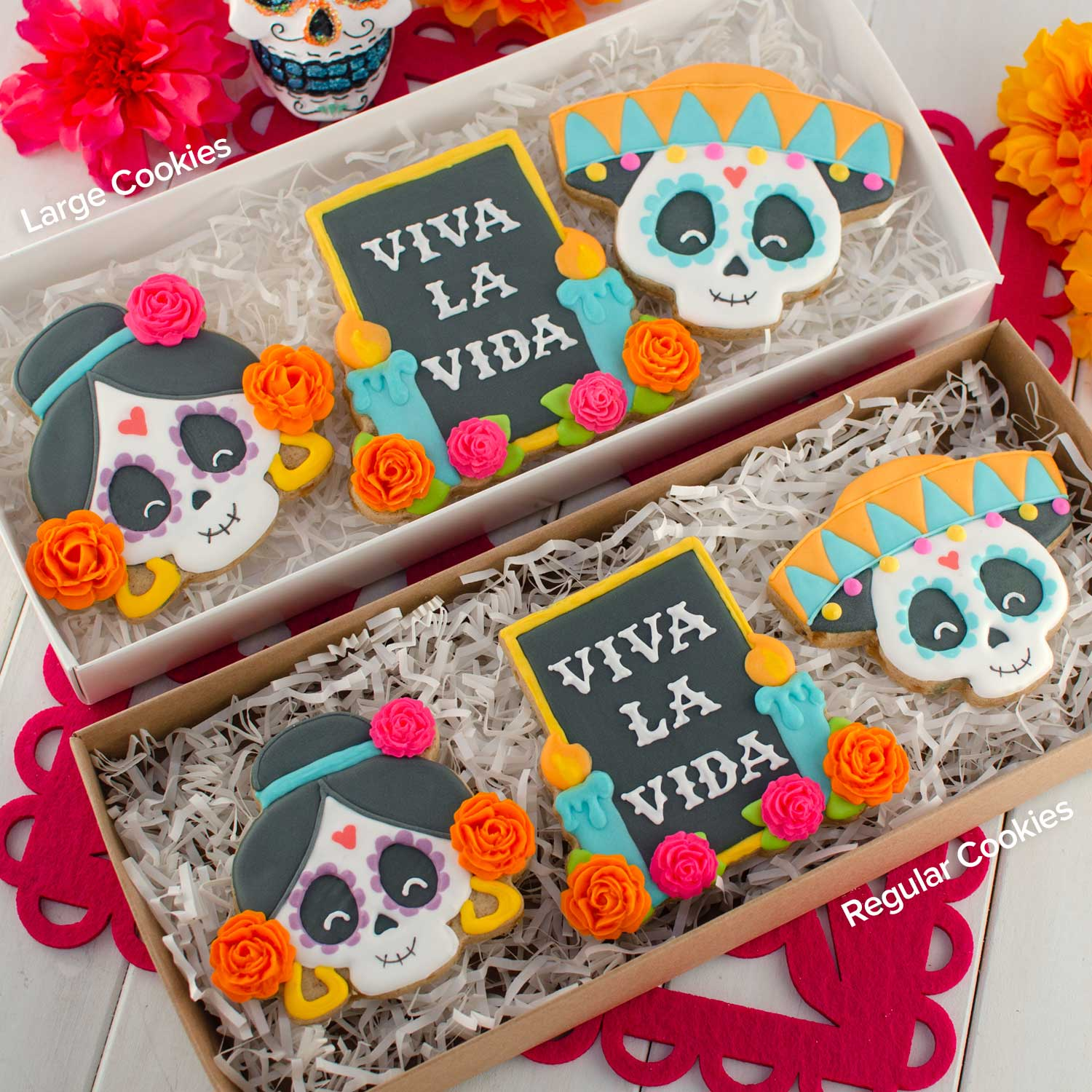 Day of the Dead cookies in a box | Semi Sweet Designs
