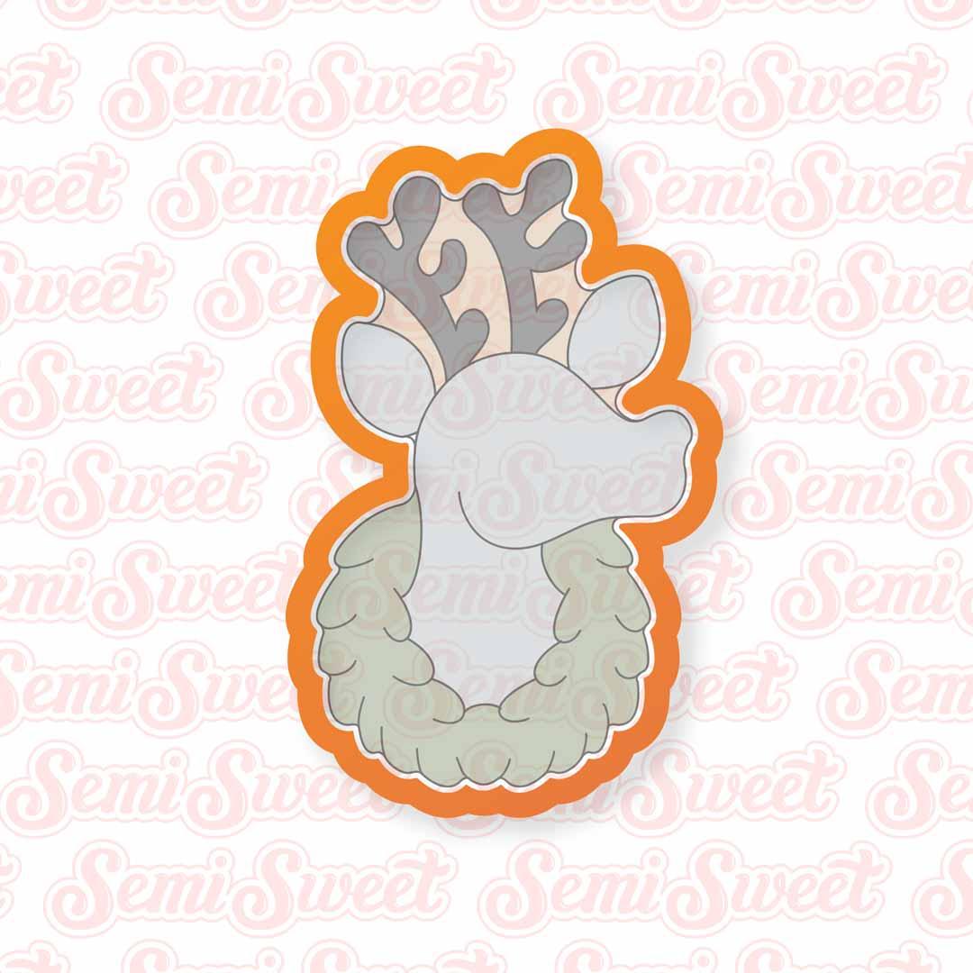 reindeer in wreath cookie cutter | Semi Sweet Designs