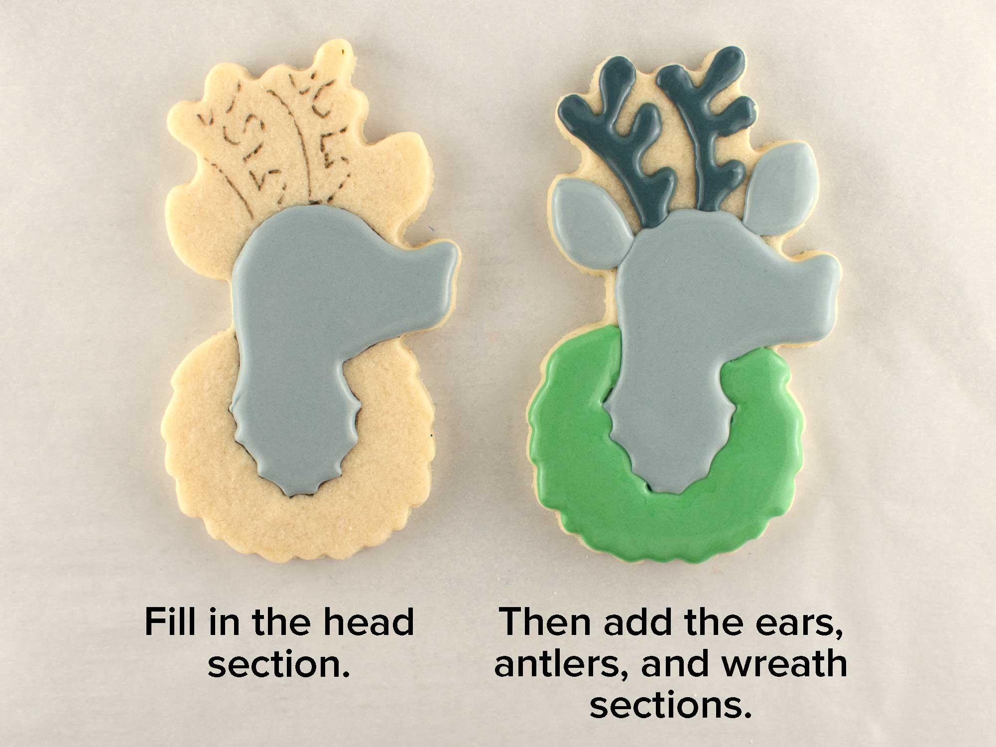 reindeer wreath cookies step 2