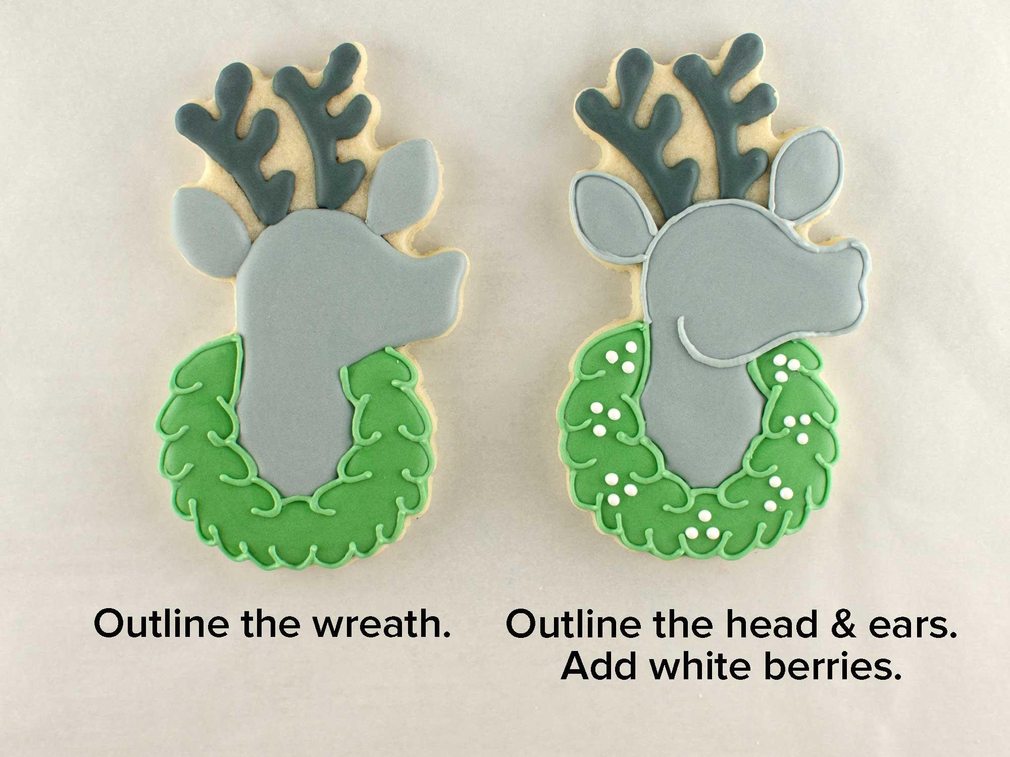 reindeer wreath cookies step 3