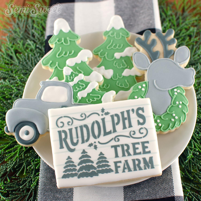 Rudolph's Tree Farm cookie stencil | Semi Sweet Designs