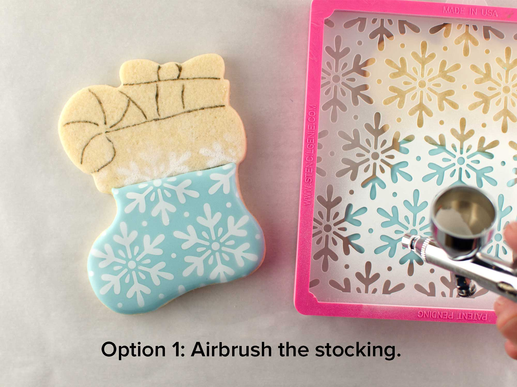 airbrushing cookies with white