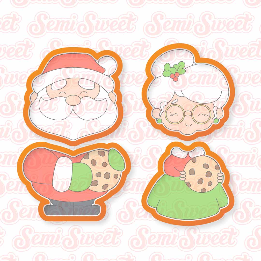 Claus Cookie Couple Cookie Cutters | Semi Sweet Designs