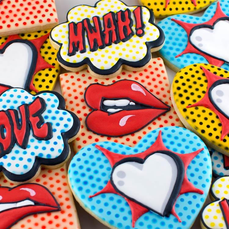 Pop Art Valentine Cookies