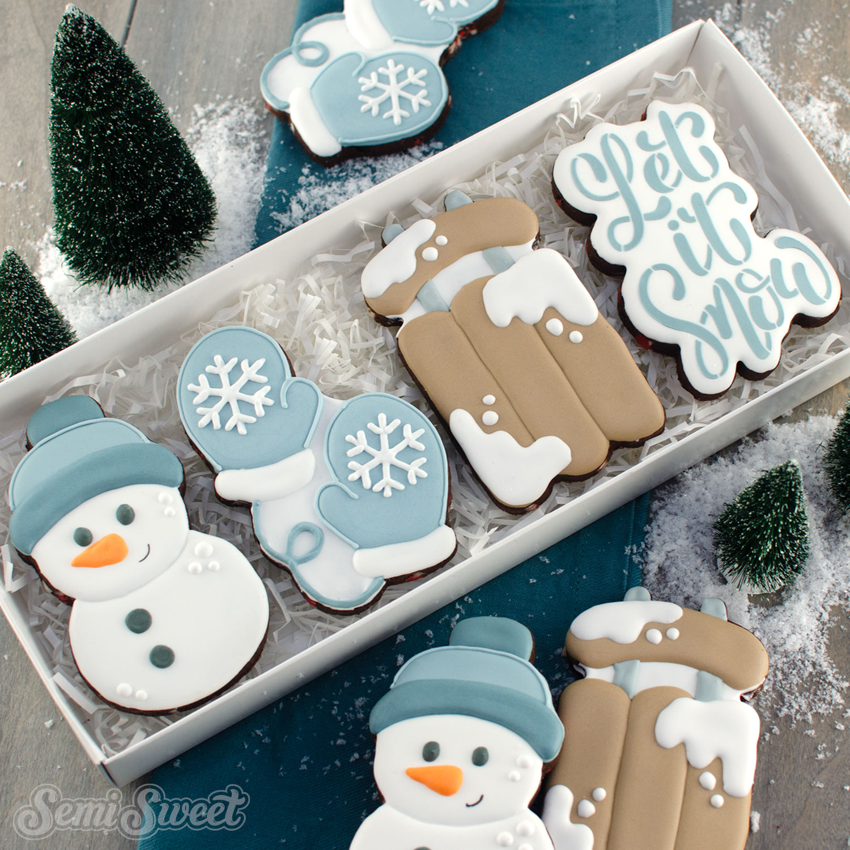 Let it Snow cookies in a box | Semi Sweet Designs
