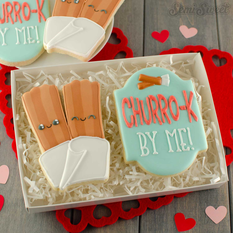 Valentine Pun Churro Cookies | Semi Sweet Designs