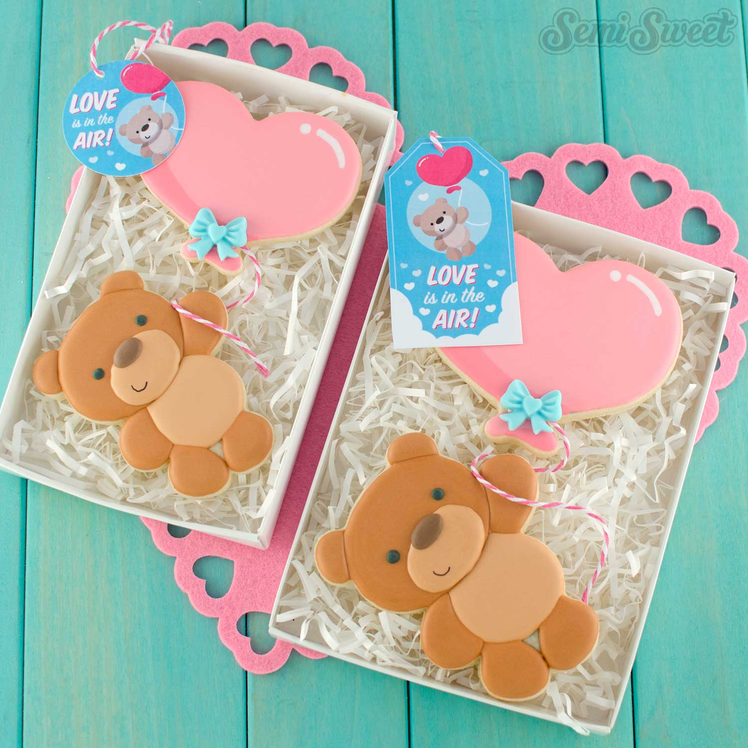 Balloon Teddy Bear Cookie Set with Tags | Semi Sweet Designs