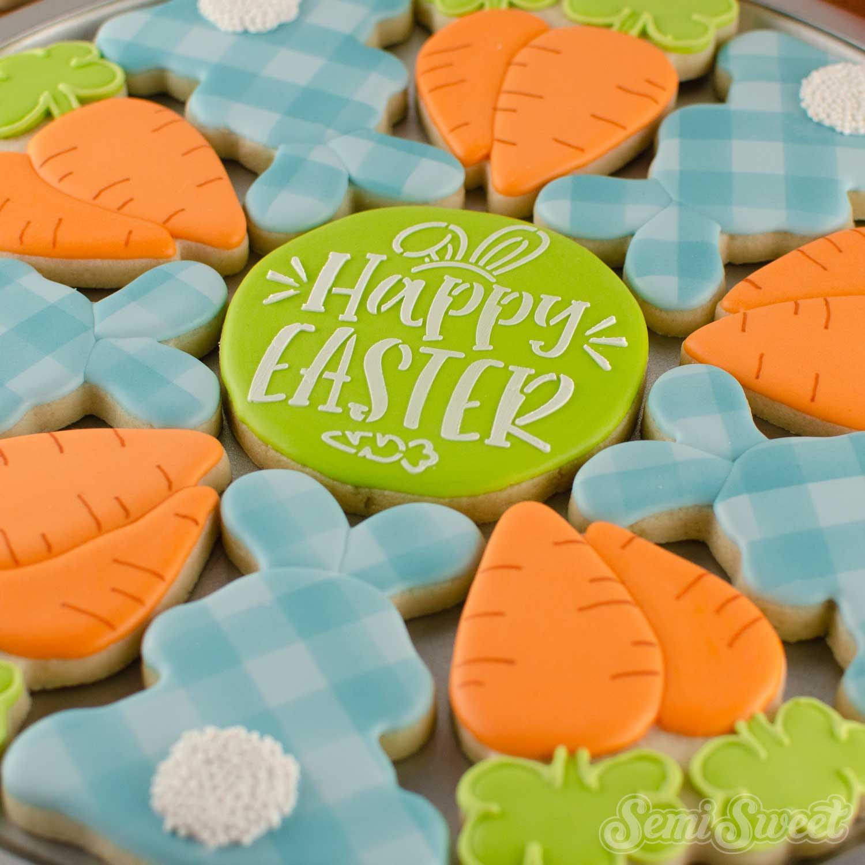 Bunny & Carrot Cookie Platter | Semi Sweet Designs