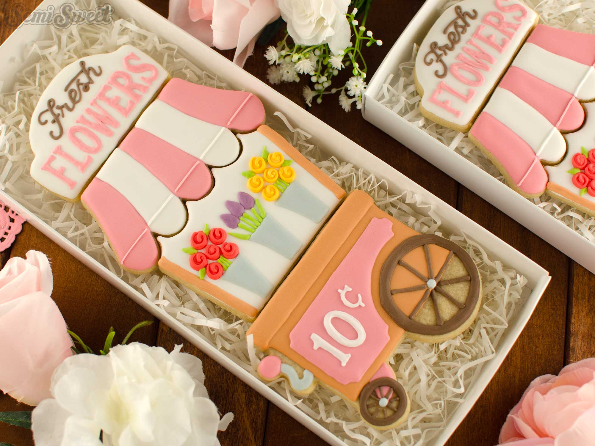 How to Make a Flower Cart Cookie Set