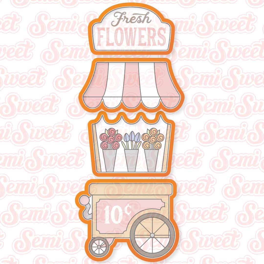 flower cart cookie cutter set | Semi Sweet Designs