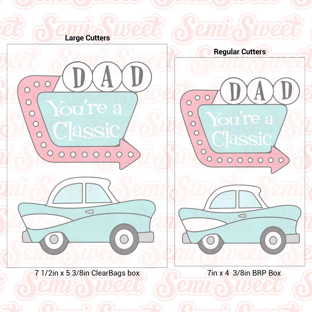 vintage car motel sign cookie cutters for Father's Day