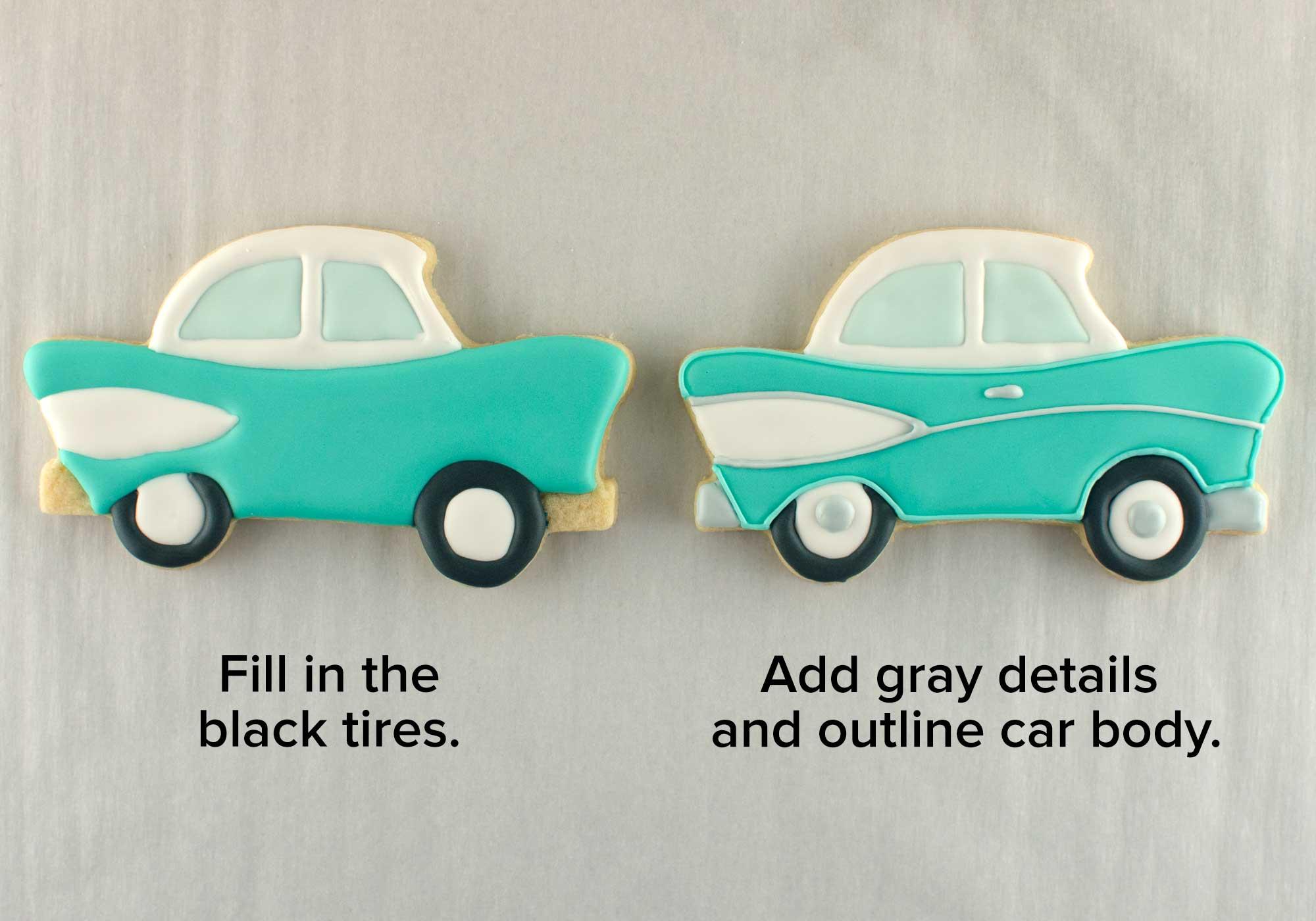 vintage car cookies step 2