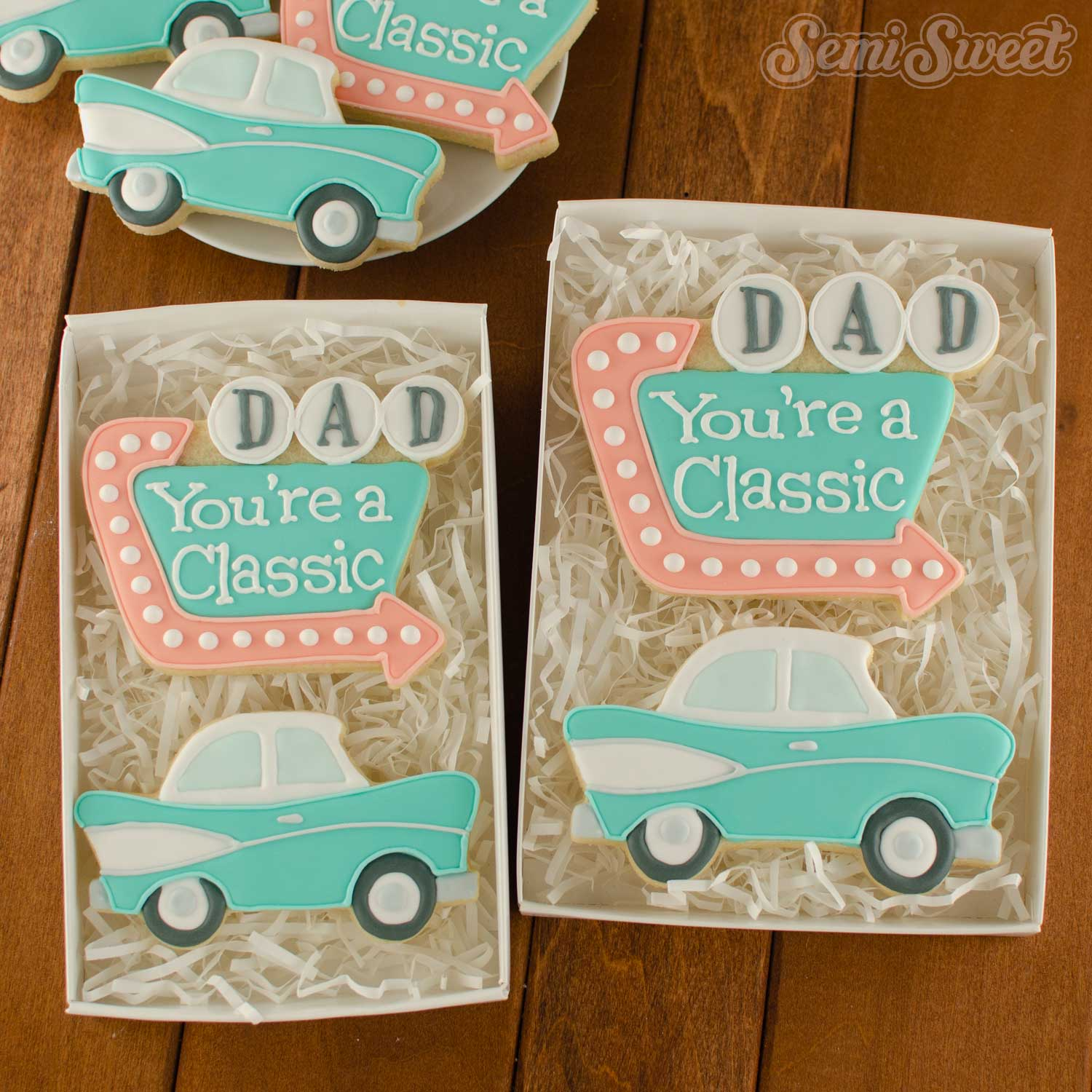vintage car and sign cookies for Father's Day | Semi Sweet Designs