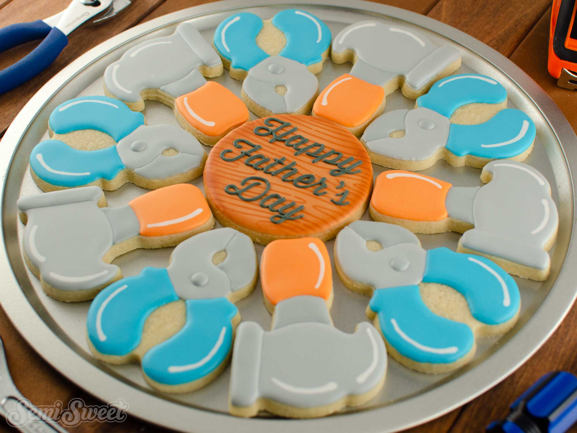 Tools cookie platter for Father's Day | Semi Sweet Designs