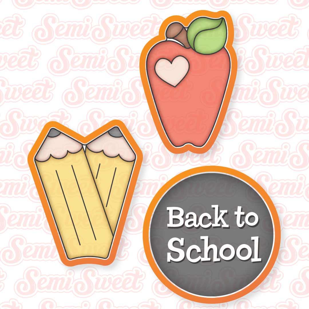 apple pencil platter cookie cutter set   Semi Sweet Designs