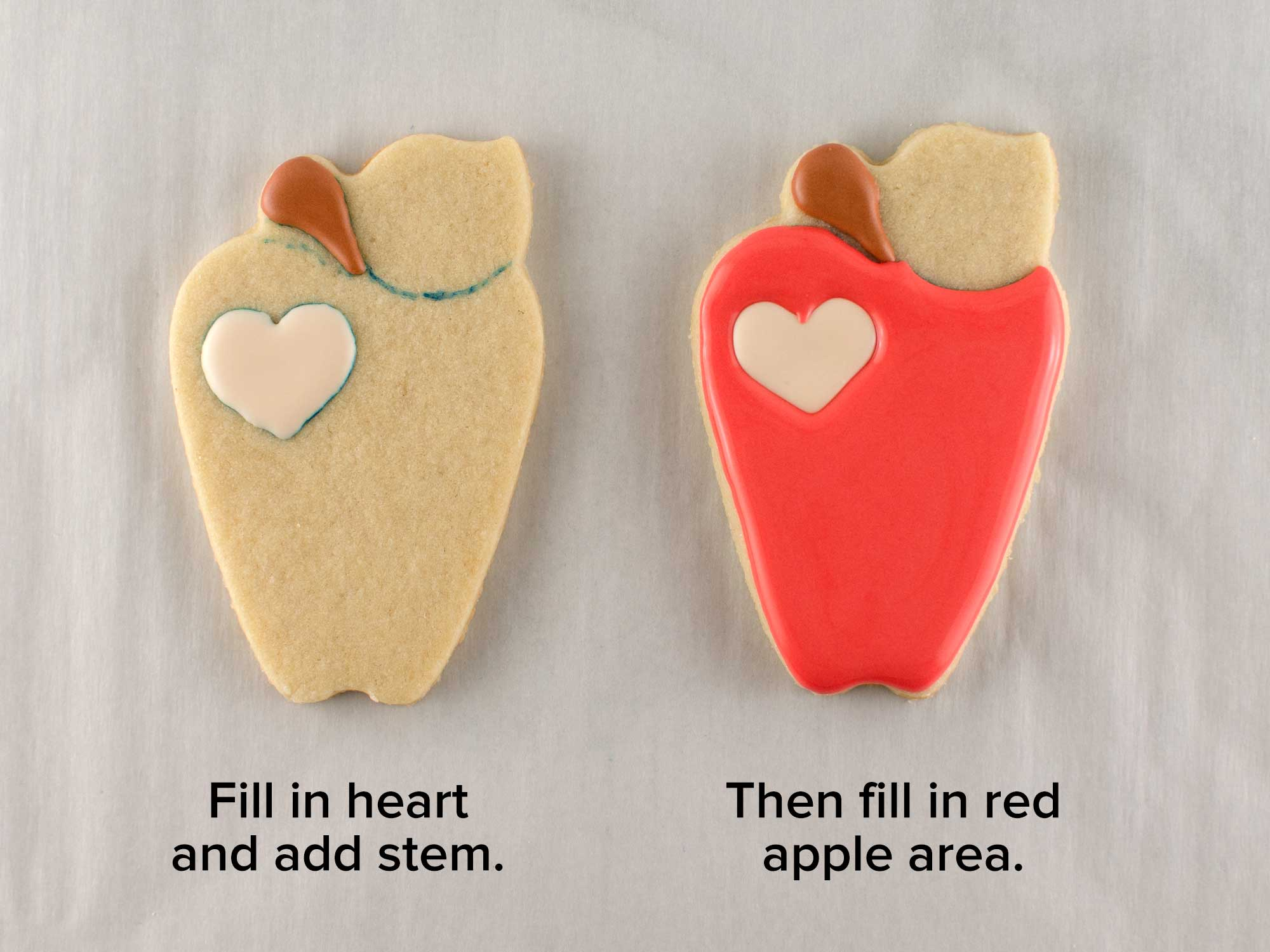apple pencil cookie platter step 1